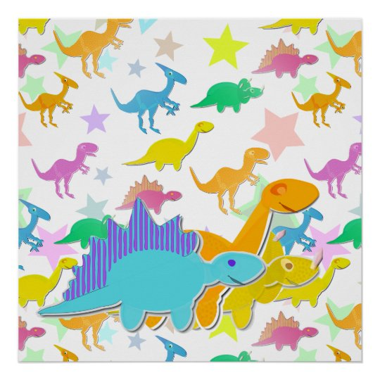 Color Cartoon Dinosaurs Poster
