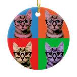Color Cat Ceramic Ornament