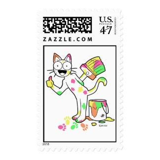 color cat postage stamp