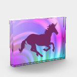 """Color Change Unicorn_Abstract Rainbow Award<br><div class=""""desc"""">A purple unicorn with drop shadow effect on an abstract pastel rainbow background. Change unicorn color by choosing a different background color. Add text,  if desired.</div>"""
