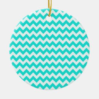 Color Chevron de la aguamarina zigzag Ornamentos De Navidad