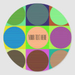 Color Circles in Squares Classic Round Sticker