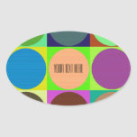 Color Circles in Squares Oval Sticker