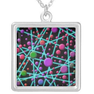 Color Circles Square Pendant Necklace