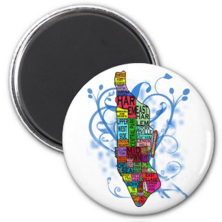Color Coded Manhattan Map 2 Inch Round Magnet
