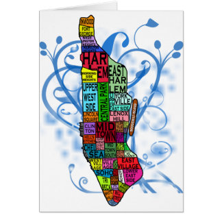 Color Coded Manhattan Map Greeting Card