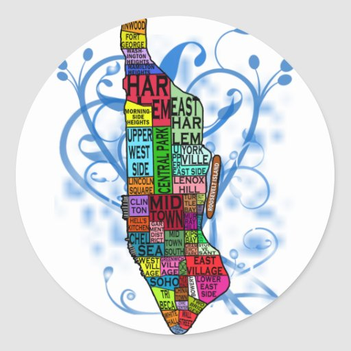 Color Coded Manhattan Map Round Stickers