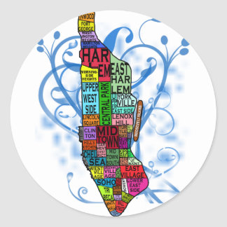 Color Coded Manhattan Map Classic Round Sticker