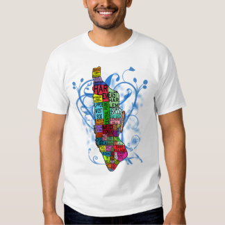 Color Coded Manhattan Map Tee Shirts