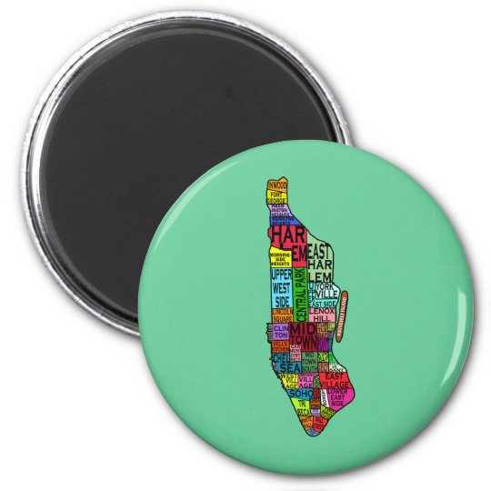 Color Coded Manhattan NYC Tshirts, Hoodies 2 Inch Round Magnet