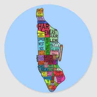 Color Coded Manhattan NYC Tshirts, Hoodies Classic Round Sticker