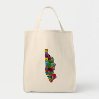 Color Coded Manhattan NYC Tshirts, Hoodies Grocery Tote Bag