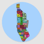 Color Coded Manhattan NYC Tshirts, Hoodies Round Stickers