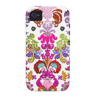 Color colorido de PixDezines Isabel Damask/DIY Vibe iPhone 4 Carcasa