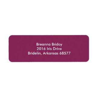 Color complementario fresco de la frambuesa oscura etiqueta de remitente