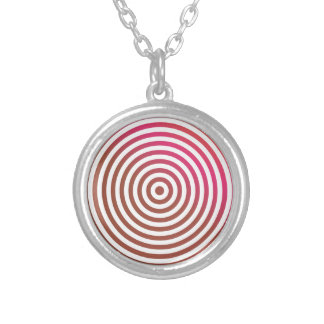 Color concentric circles round pendant necklace