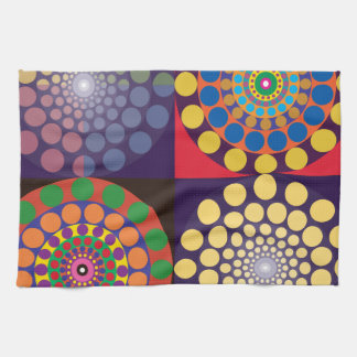 Color Contrasts in Circles Hand Towels