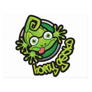 Color córneo del logotipo del Gecko 01 Tarjeta Postal