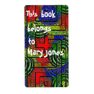 Color Crazy Pattern Bookplate Label
