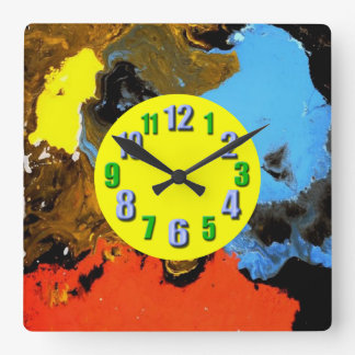 Color crazy yellow numbers square wallclocks