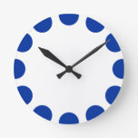 Color Crescent - Navy Blue with White Round Clock