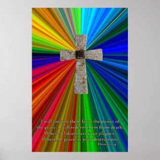 color & cross, hosea 13:14 poster