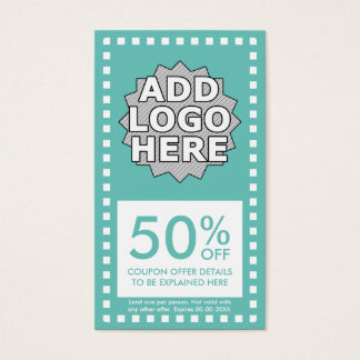 color customizable simple coupon business card