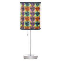 color cute owls checkered image table lamp
