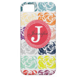 Color Damask & Red Monogram iPhone Case iPhone 5 Cover