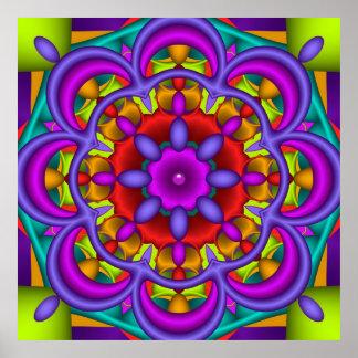 Color Dance, abstract kaleidoscope wallart Poster