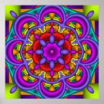 Color Dance, abstract kaleidoscope wallart Posters