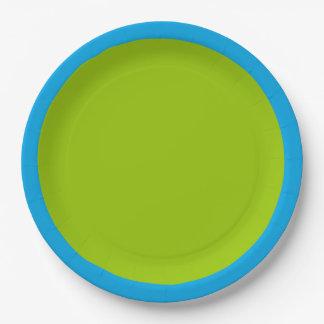 Color de acento de la verde lima listo para plato de papel de 9 pulgadas