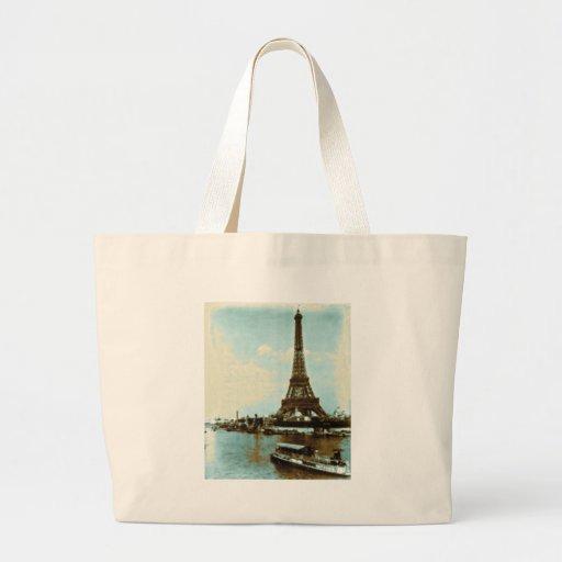 Color de agua de París del vintage Bolsa De Tela Grande