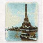 Color de agua de París del vintage Mousepad