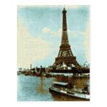 Color de agua de París del vintage Postal