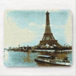 Color de agua de París del vintage Alfombrillas De Ratones