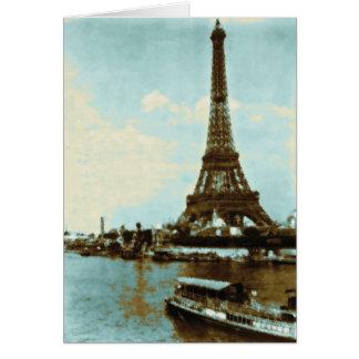 Color de agua de París del vintage Tarjeta De Felicitación