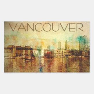 Color de agua de Vancouver Pegatina Rectangular