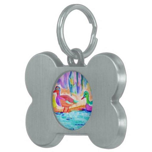 Color de agua del estudio del pato placa de nombre de mascota