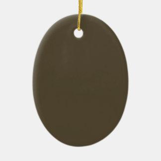 Color de color caqui del verde caqui Greyed oscuro Adorno Navideño Ovalado De Cerámica