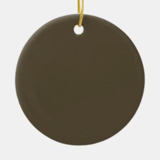 Color de color caqui del verde caqui Greyed oscuro Adorno Navideño Redondo De Cerámica