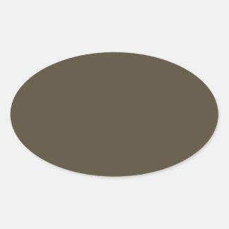 Color de color caqui del verde caqui Greyed oscuro Pegatina Ovalada