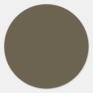 Color de color caqui del verde caqui Greyed oscuro Pegatina Redonda