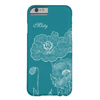 Color de encargo floral y nombre de la pizarra funda para iPhone 6 barely there
