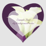 Color de fondo blanco de la cala lily/DIY de Pegatina Corazón Personalizadas