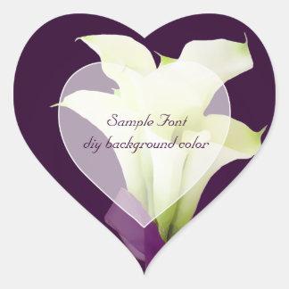 Color de fondo blanco de la cala lily DIY de Pegatina Corazón Personalizadas