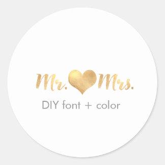 Color de fondo de PixDezine heart/mr&mrs/DIY Pegatina Redonda