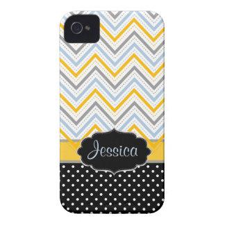 Color de fondo de PixDezines Chevron yellow/DIY iPhone 4 Case-Mate Carcasas