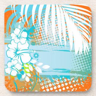 Color de fondo de PixDezines hibiscus/DIY Posavasos De Bebida