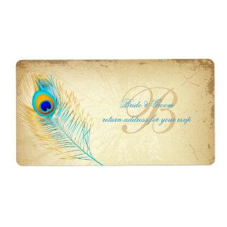 Color de fondo de PixDezines peacock DIY Etiquetas De Envío
